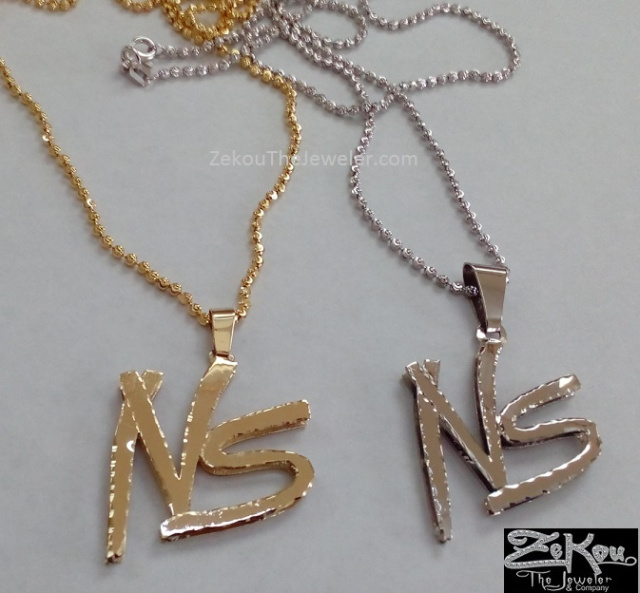 Custom gold charms and name jewelry by zekou the jeweler co custom 10k gold no stress logo pendant mozeypictures Image collections