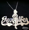 "Cartoon Lady wearing ""Jennifer"" chain"